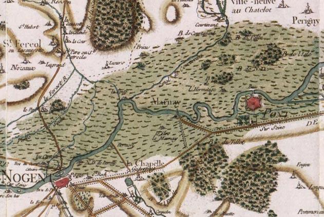 Marnay-Sur-Seine sur la carte de Cassini